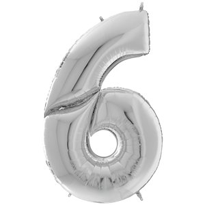 Silver Number 6 Balloon - 64