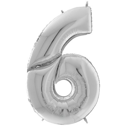"Silver Number 6 Balloon - 64"" Foil"