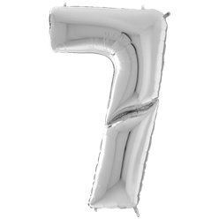 "Silver Number 7 Balloon - 64"" Foil"