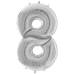 "Silver Number 8 Balloon - 64"" Foil"