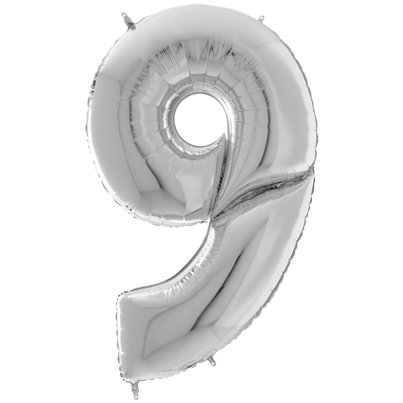"Silver Number 9 Balloon - 64"" Foil"
