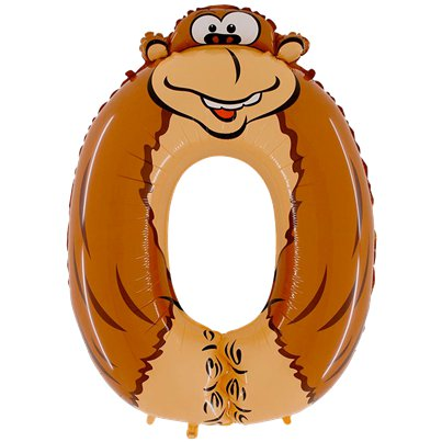 "Gorilla Number 0 Balloon - 40"" Animaloon Foil"
