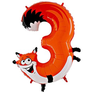 Fox Number 3 Balloon - 40'' Animaloon Foil