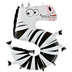 Zebra Number 5 Balloon - 40'' Animaloon Foil