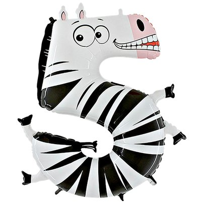 "Zebra Number 5 Balloon - 40"" Animaloon Foil"