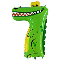 Crocodile Number 7 Balloon - 40'' Animaloon Foil