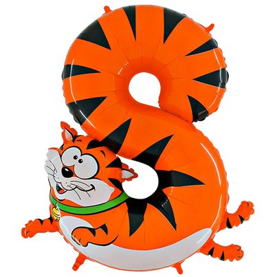 "Cat Number 8 Balloon - 40"" Animaloon Foil"