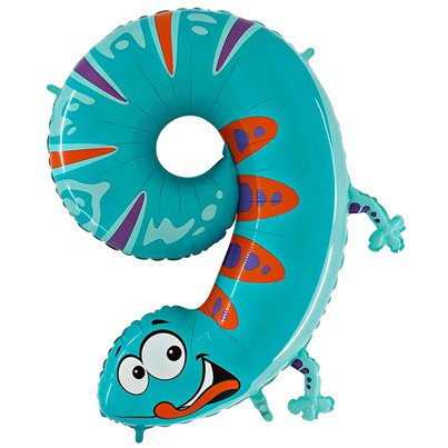 "Gecko Number 9 Balloon - 40"" Animaloon Foil"