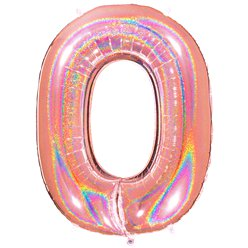 "Glitter Rose Gold Holographic Number 0 Balloon - 40"" Foil"