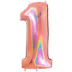 "Glitter Rose Gold Holographic Number 1 Balloon - 40"" Foil"