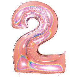 "Glitter Rose Gold Holographic Number 2 Balloon - 40"" Foil"