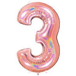 "Glitter Rose Gold Holographic Number 3 Balloon - 40"" Foil"