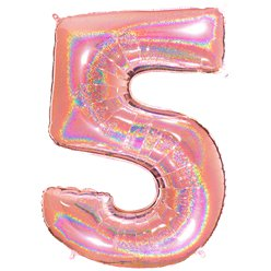 "Glitter Rose Gold Holographic Number 5 Balloon - 40"" Foil"