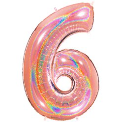 "Glitter Rose Gold Holographic Number 6 Balloon - 40"" Foil"