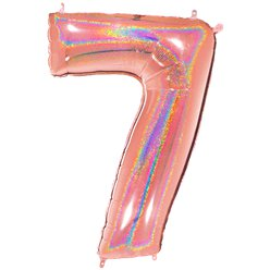 "Glitter Rose Gold Holographic Number 7 Balloon - 40"" Foil"