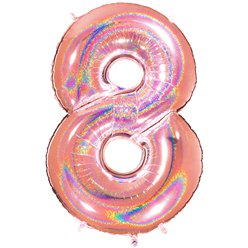 "Glitter Rose Gold Holographic Number 8 Balloon - 40"" Foil"