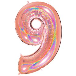 "Glitter Rose Gold Holographic Number 9 Balloon - 40"" Foil"