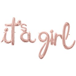 "Rose Gold It's A Girl Phrase Balloon - 56"" Foil"