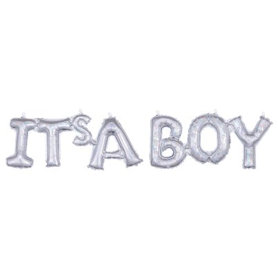 "Holographic It's A Boy Phrase Balloon - 40"" Foil"