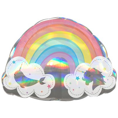 "Magical Rainbow Holographic SuperShape Balloon - 28"" Foil"
