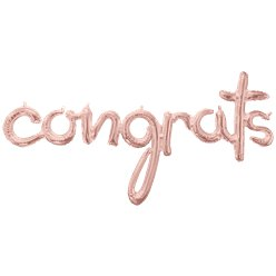 "Rose Gold Congrats Phrase Balloon - 56"" Foil"
