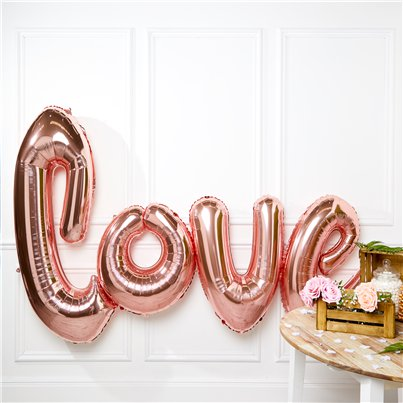 "Giant Rose Gold Love Balloon - 53"" Foil"