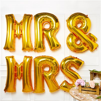"Gold Mr & Mrs Balloons - 34"" Foil"