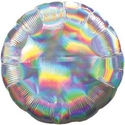 "Silver Iridescent Circle Balloon - 18"" Foil"