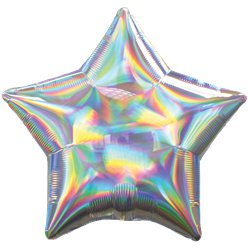 "Silver Iridescent Star Balloon - 18"" Foil"