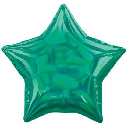 "Green Iridescent Star Balloon - 18"" Foil"