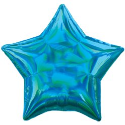 "Cyan Iridescent Star Balloon - 18"" Foil"