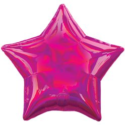 "Magenta Iridescent Star Balloon - 18"" Foil"