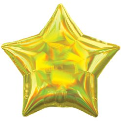"Yellow Iridescent Star Balloon - 18"" Foil"