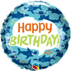 "Shark Happy Birthday Balloon - 18"" Foil"
