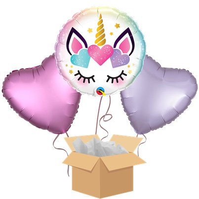 Unicorn Lashes Balloon Bouquet - Delivered Inflated