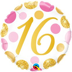 "16th Birthday Pink & Gold Dots Balloon - 18"" Foil"