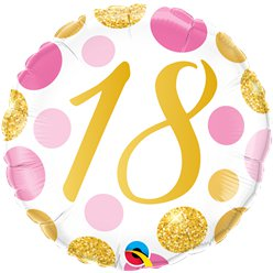 "18th Birthday Pink & Gold Dots Balloon - 18"" Foil"
