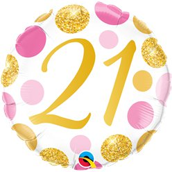 "21st Birthday Pink & Gold Dots Balloon - 18 "" Foil"
