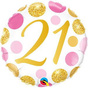 21st Birthday Pink & Gold Dots Balloon - 18