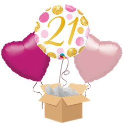 21st Pink Dots Balloon Bouquet - Delivered Inflated