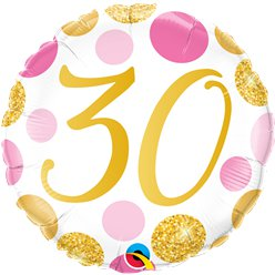 "30th Birthday Pink & Gold Dots Balloon - 18 "" Foil"