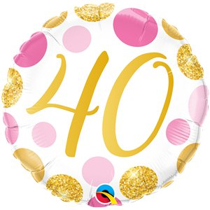 40th Birthday Pink & Gold Dots Balloon - 18