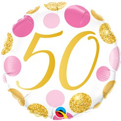 "50th Birthday Pink & Gold Dots Balloon - 18 "" Foil"