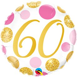 "60th Birthday Pink & Gold Dots Balloon - 18 "" Foil"