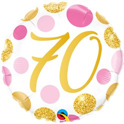 "70th Birthday Pink & Gold Dots Balloon - 18 "" Foil"