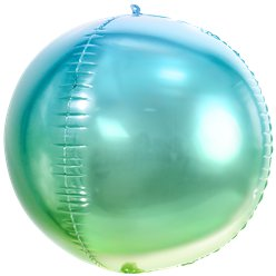 Blue & Green Ombre Foil Balloon Ball - 14""