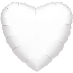 "Metallic White Heart Balloon - 18"" Foil - unpackaged"