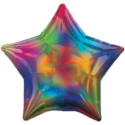 "Rainbow Iridescent Star Balloon - 18"" Foil"