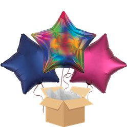 Rainbow Iridescent Star Balloon Bouquet - Delivered Inflated