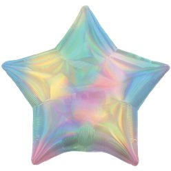"Pastel Rainbow Iridescent Star Balloon - 18"" Foil"